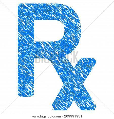 Grunge Rx Symbol icon with scratched design and scratched texture. Unclean vector blue Rx Symbol pictogram for rubber seal stamp imitations and watermarks. Draft emblem symbol.