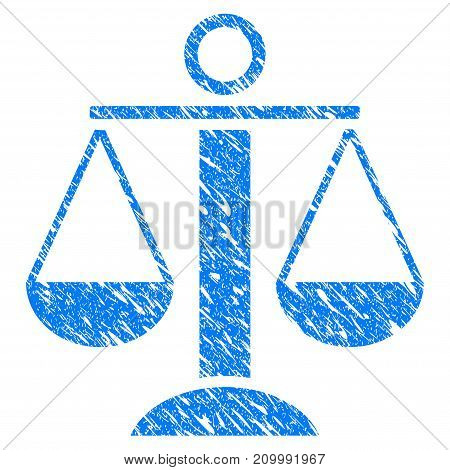 Grunge Scales Balance icon with scratched design and unclean texture. Unclean vector blue Scales Balance pictogram for rubber seal stamp imitations and watermarks. Draft sign symbol.