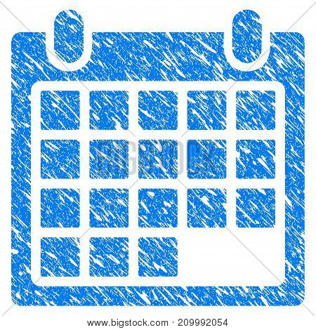Grunge Schedule Calendar Grid icon with scratched design and dirty texture. Unclean vector blue Schedule Calendar Grid pictogram for rubber seal stamp imitations and watermarks. Draft sign symbol.