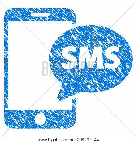 Grunge Send Phone SMS icon with scratched design and scratched texture. Unclean vector blue Send Phone SMS pictogram for rubber seal stamp imitations and watermarks. Draft sticker symbol.