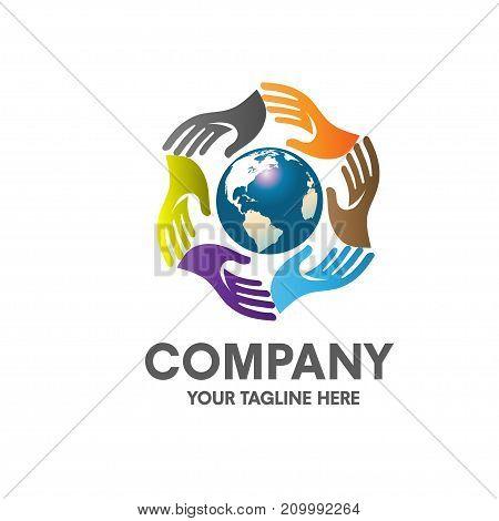Colorful hands around earth globe, charity, non profit logo