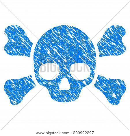 Grunge Skull Crossbones icon with scratched design and grungy texture. Unclean vector blue Skull Crossbones pictogram for rubber seal stamp imitations and watermarks. Draft sign symbol.