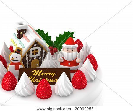 Christmas cake Santa Claus doll, Gingerbread house and strawberry on, 3D illustration