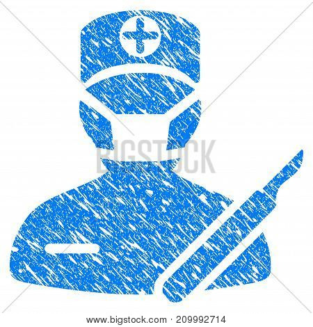 Grunge Surgeon icon with scratched design and dust texture. Unclean vector blue Surgeon pictogram for rubber seal stamp imitations and watermarks. Draft emblem symbol.