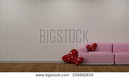 Interior decoration room 3D rendering living room pink sofa valentine heart pillow in living room empty