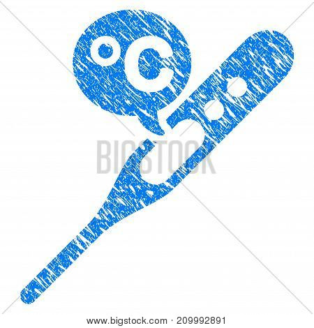 Grunge Temperature Celsius icon with scratched design and dirty texture. Unclean vector blue Temperature Celsius pictogram for rubber seal stamp imitations and watermarks. Draft sticker symbol.