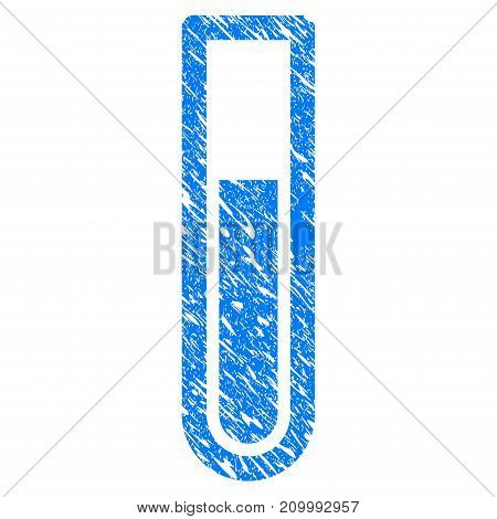 Grunge Test Tube icon with scratched design and dirty texture. Unclean vector blue Test Tube pictogram for rubber seal stamp imitations and watermarks. Draft sign symbol.