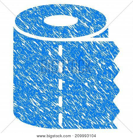 Grunge Toilet Paper icon with scratched design and dust texture. Unclean vector blue Toilet Paper pictogram for rubber seal stamp imitations and watermarks. Draft sticker symbol.