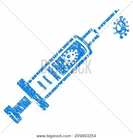 Grunge Vaccine icon with scratched design and dust texture. Unclean vector blue Vaccine pictogram for rubber seal stamp imitations and watermarks. Draft sticker symbol.