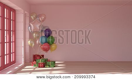 Interior room3D renderingliving room pink colorgift boxes with balloonsinterior Organizing a party background