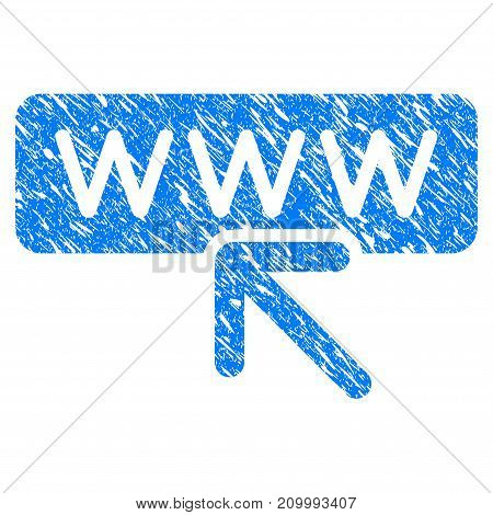 Grunge Website Address icon with scratched design and dust texture. Unclean vector blue Website Address pictogram for rubber seal stamp imitations and watermarks. Draft emblem symbol.