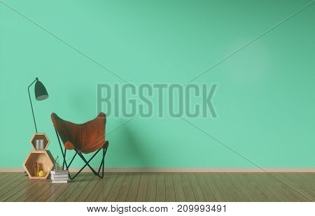 Interior,Modern Lighting,empty white green wall background,3D rendering