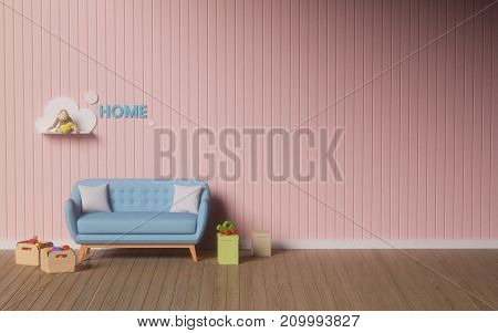 Simple Living room,Pink-wall Reading room ,3D illustration