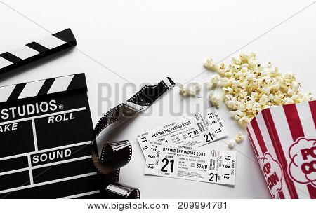 Movie objects on white background