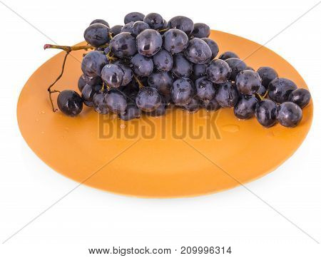 blue grapes in a clay plate on a white background
