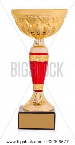 golden trophy isolated on white background .
