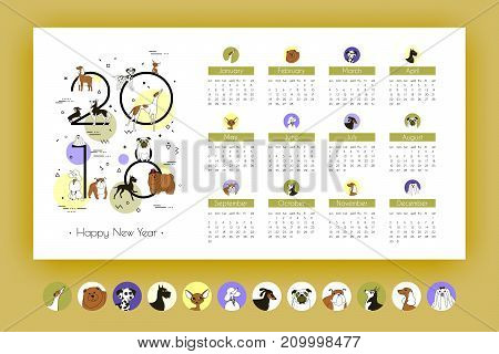 Monthly Business Calendar 2018 with Breeds Dogs. Memphis style. Template. Vector Art. Isolated