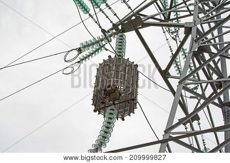 electric tower high voltage post on white background
