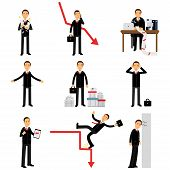 Frustrated businessman character set, business and financial failure, bankruptcy, economic crisis, unemployment vector Illustrations isolated on a white background poster