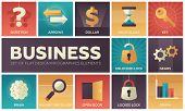 Business - set of flat design infographics elements. Metaphorical square icons. Question, arrows, dollar, hourglass, key, unlocked and locked lock, gears, brain, magnifying glass, open door, graph poster