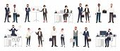 Big collection of business people or office workers dressed in smart clothing in different situations - making deal, conducting negotiation, working. Colorful cartoon characters. Vector illustration poster