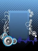 editable vector audio background and waves, blue banner poster