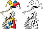 Vector cartoon clip art illustration of a scary half skeleton half joker or jester or harlequin tipping his hat with bells and holding a mask on a stick. In color and black and white. poster