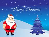 christmas celebration with santa and decorate christmas tree poster
