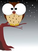 twinkling star background with comic owl poster