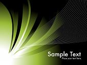 abstract green nature background with wave, sample text poster