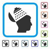Propaganda Brain Shower icon. Flat gray pictogram symbol in a light blue rounded rectangle. Black, gray, green, blue, red, orange color variants of Propaganda Brain Shower vector. poster