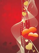 abstract red seamless background with wave and romantic heart poster