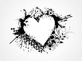 grungy heart for valentine day, vector illustration poster