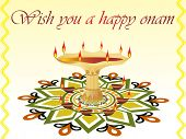 beautiful pattern greeting card for onam celebration poster