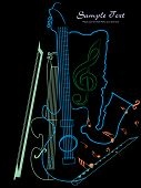 vector illustration of music background with musical object poster
