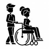 young man strolling with woman in wheelchair, nursing care for disabled people  icon, vector illustration, black sign on isolated background poster