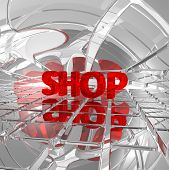 the word shop in abstract futuristic space - 3d illustration poster