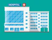 Hospital building, medical icon. Healthcare, hospital and medical diagnostics. Urgency and emergency services. Vector illustration in flat style poster