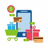 Mobile online store smartphone cart : concept of mobile phone order purchase internet shop showcase ecommerce. poster