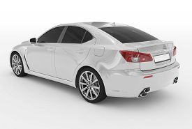 Car Isolated On White - White Paint, Tinted Glass - Back-left Side View