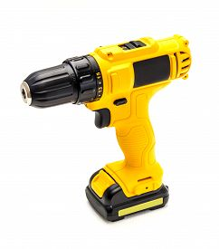 Electric Drill Cordless On White Background