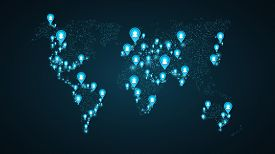 Geolocation of users on the world map. Planet Earth. America, Asia, Africa, USA. Blue markers with user icons. Map of points. Global network. The world population. Blue glow. Vector illustration