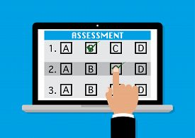 Online survey assessment on computer laptop with businessman finger point to touch screen. Vector illustration business assessment evaluation measure validation review concept.