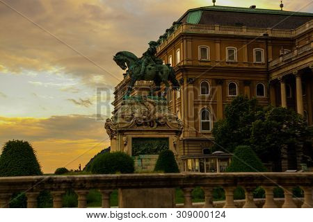 Buda Castle, Royal Palace And Equestrian Statue Of Prince Eugene Of Savoy In Budapest, Hungary