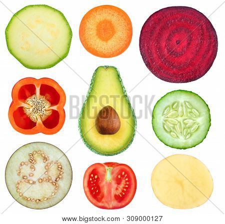 Isolated Vegetable Slices. Collection Of Fresh Cut Vegetables (zucchini, Carrot, Beetroot, Bell Pepp