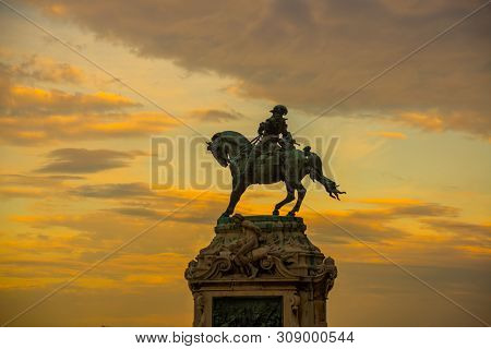 Budapest, Hungary: Statue Of Prince Eugene Of Savoy In Budapest At Sunset, Buda Castle, Royal Palace