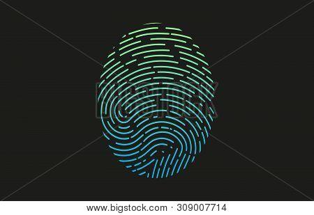 Fingerprint Logo. Colored Fingerprint Icon Identification. Security And Surveillance System Element.