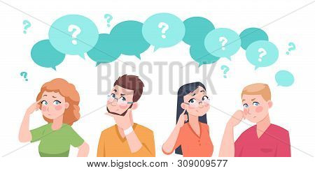 Thinking People Group. Anxiety Characters, Flat Crowd In Doubt Talking And Confused, Business Team A