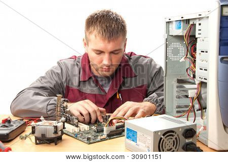 Computer support engineer. Isolated on white