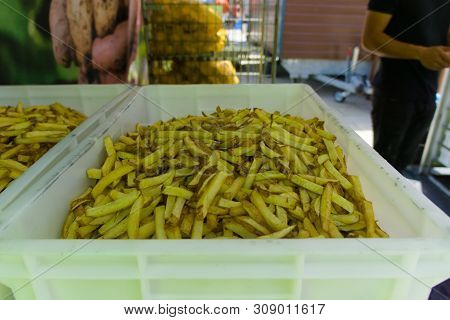 Snackbar Selling Fries On The Street Fair
